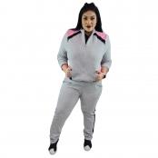 Foto 2 Jaqueta Feminina Moletom Plus Size com Bolsos e Zíper Cinza Mescla