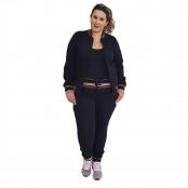 Foto 1 Jaqueta Feminina Moletom Plus Size com Bolsos e Zíper Preto
