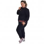 Foto 2 Jaqueta Feminina Moletom Plus Size com Bolsos e Zíper Preto