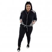Foto 1 Jaqueta Feminina Moletom Plus Size com Bolsos e Zíper Preto e Cinza