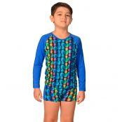 Foto 1 Kit Camiseta Uv Infantil Abacaxi + Sunga Boxer Infantil Abacaxi
