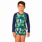 Foto 1 Kit Camiseta Uv Infantil Xadrez + Sunga Boxer Infantil Xadrez