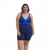 Foto 1 Macaquinho Natação Plus Size com Sustentação Light Azul Marinho com Detalhe em Azul Bic