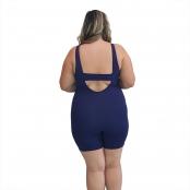 Foto 2 Macaquinho Natação Plus Size com Sustentação Light Azul Marinho com Detalhe Pink