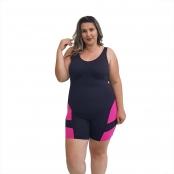 Foto 1 Macaquinho Natação Plus Size com Sustentação Light Preto com Detalhe em Pink