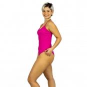 Foto 2 Maiô Body Canelado com Alças Finas Reguláveis Pink