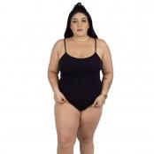 Foto 1 Maiô Body Plus Size Canelado com Alças Finas Reguláveis Preto