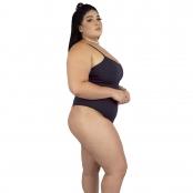 Foto 2 Maiô Body Plus Size Canelado com Alças Finas Reguláveis Preto