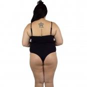 Foto 3 Maiô Body Plus Size Canelado com Alças Finas Reguláveis Preto