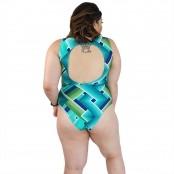 Foto 2 Maiô Body Plus Size com Alças Largas Chevron Esverdeado