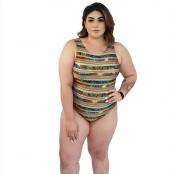 Foto 1 Maiô Body Plus Size com Alças Largas Indígena Dourada