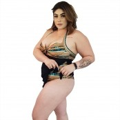 Foto 3 Maiô Body Plus Size com Saída de Praia Embutida Indígena Dourada