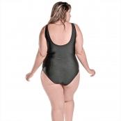Foto 2 Maiô Body Plus Size Tradicional com Bojo Removível Preto