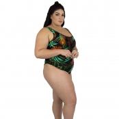 Foto 2 Maiô Body Plus Size Tradicional com Detalhe em Tule Tropicalia