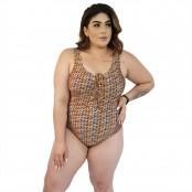 Foto 1 Maiô Body Plus Size Trançado com Bojo Removível Étnico