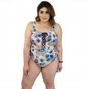 Foto 1 Maiô Body Plus Size Trançado com Bojo Removível Tropical