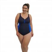 Foto 1 Maiô Natação Plus Size com Sustentação Light UV 50+ Preto com Detalhe em Azul Bic