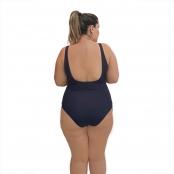 Foto 3 Maiô Natação Plus Size com Sustentação Light UV 50+ Preto com Detalhe em Azul Bic