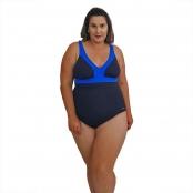 Foto 1 Maiô Natação Plus Size Light UV 50+ Preto com Detalhe em Azul Bic