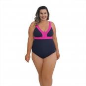 Foto 1 Maiô Natação Plus Size Light UV 50+ Preto com Detalhe em Pink