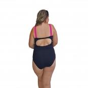 Foto 2 Maiô Natação Plus Size Light UV 50+ Preto com Detalhe em Pink