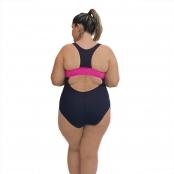 Foto 2 Maiô Natação Plus Size Light UV 50+ Preto com Detalhe em Pink nas Laterais