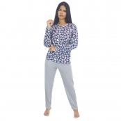 Foto 2 Pijama Longo Feminino Coração Azul
