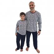 Foto 3 Pijama Longo Infantil Masculino Azul Marinho