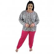 Foto 1 Pijama Longo Plus Size Feminino Corações