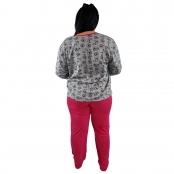 Foto 3 Pijama Longo Plus Size Feminino Corações