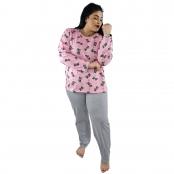 Foto 1 Pijama Longo Plus Size Feminino Gatinho