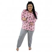 Foto 2 Pijama Longo Plus Size Feminino Gatinho