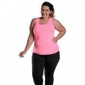 Foto 1 Camiseta Feminina Plus Size Regata UV 50+ New Trip Rosa Fluorescente