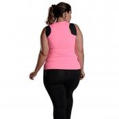 Foto 2 Camiseta Feminina Plus Size Regata UV 50+ New Trip Rosa Fluorescente