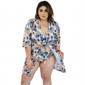 Foto 2 Saída de Praia Plus Size Kimono com Mangas 7/8 Tropical