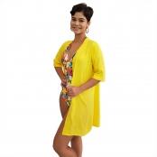 Foto 2 Vestido Chemise de Viscose Curta com Manga 3/4 e Botões Amarelo