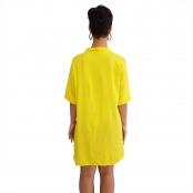 Foto 3 Vestido Chemise de Viscose Curta com Manga 3/4 e Botões Amarelo