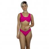 Foto 3 Top de Praia Canelado com Aro e Bojo Removível Pink