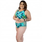 Foto 3 Top de Praia Cropped Plus Size Chevron Esverdeado