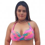 Foto 1 Top de Praia Plus Size Meia Taça Tie Dye