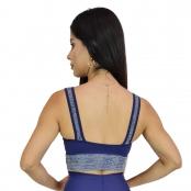 Foto 2 Top Fitness com Alça Larga New Zealand Azul Marinho Detalhe Renda
