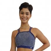 Foto 1 Top Fitness com Alças Finas Duplas New Zealand Azul Marinho e Renda
