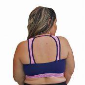 Foto 2 Top Fitness Plus Size com Detalhe em Tela nas Alças New Zealand Azul Marinho e Rosa