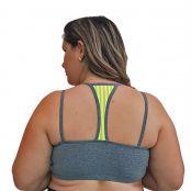 Foto 2 Top Fitness Plus Size com Alças Finas Duplas Cinza e Detalhe em Tela Verde Fluorescente