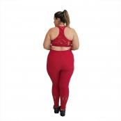 Foto 2 Top Fitness Plus Size Nadador Jacquard Vermelho