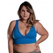 Foto 1 Top Fitness Plus Size com Bojo Removível e Alças Médias Light Azul Blau