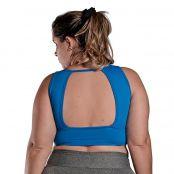 Foto 2 Top Fitness Plus Size com Bojo Removível e Alças Médias Light Azul Blau