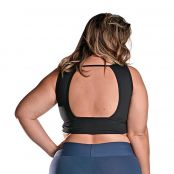Foto 2 Top Fitness Plus Size com Bojo Removível New Zealand Preto