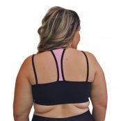 Foto 2 Top Fitness Plus Size com Alças Finas Duplas Preto e Detalhe em Tela Rosa Fluorescente