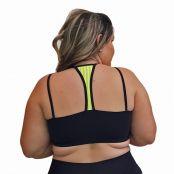Foto 2 Top Fitness Plus Size com Alças Finas Duplas Preto e Detalhe em Tela Verde Fluorescente